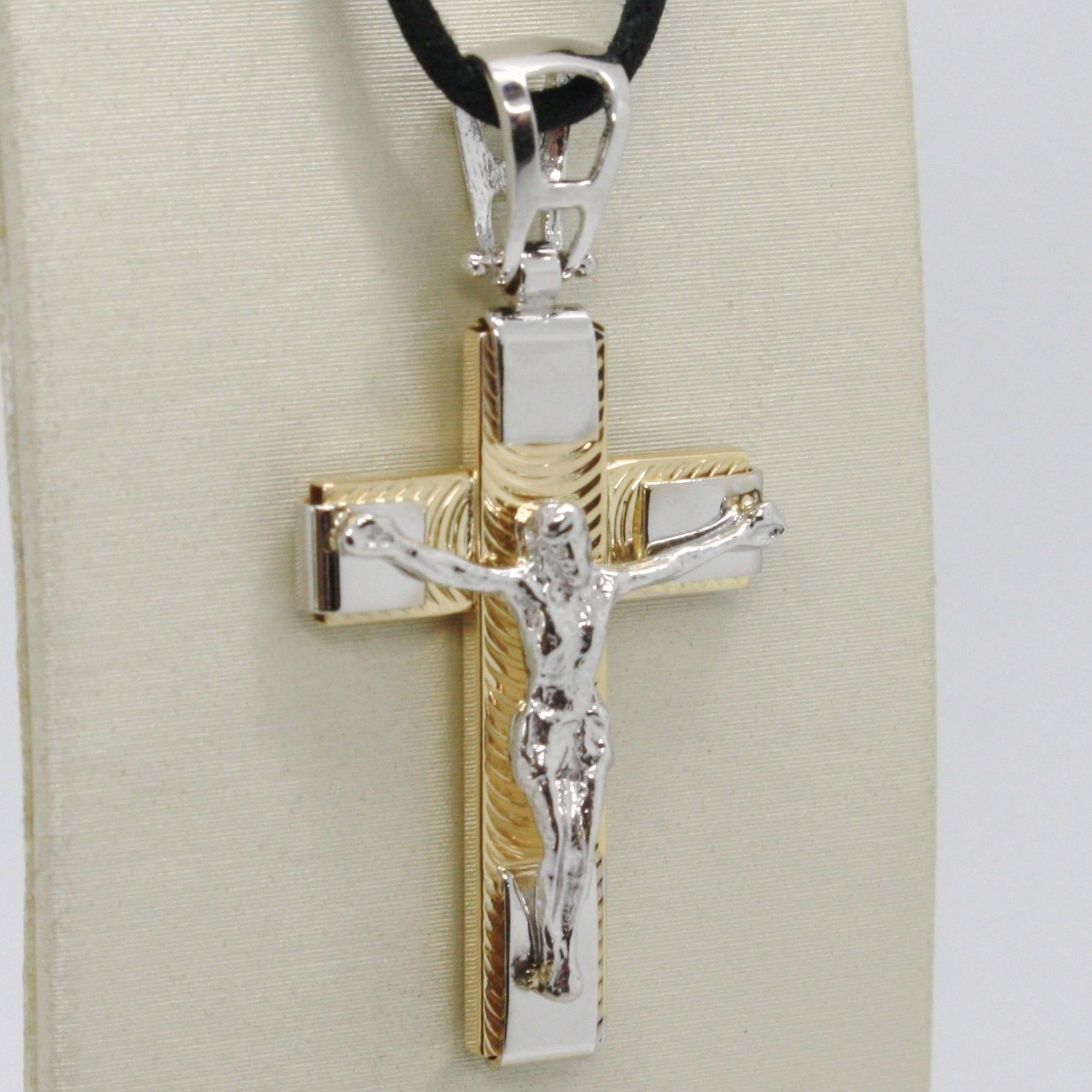 18K YELLOW WHITE GOLD JESUS CROSS PENDANT 1.4 INCHES, 3.5 CM, WORKED, ITALY MADE