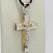 18K YELLOW WHITE GOLD JESUS CROSS PENDANT 1.4 INCHES, 3.5 CM, WORKED, ITALY MADE image 1