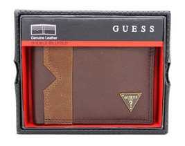 New Guess Men's Brown Leather Double Billfold Credit Card ID Wallet - $28.04