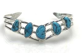 Sterling Silver Navajo H Spencer Turquoise 3 Strand V Cuff Bracelet NEW - $93.06