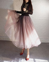 Rose Sparkle Tulle Skirt Long Tutu Glitter Skirt Rose Gold Sequin Party Outfit image 4
