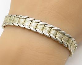 925 Sterling Silver - Vintage Parallel Leaf Detail Bracelet - B2481 - $57.66
