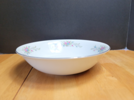 Florenteen Fantasia Serving Bowl White with Flowers in Gray Basket - $12.82