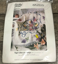 """Something Special Afghan Kit Tiger Lilies And Tulips #54093 Candamar 45"""" X 58"""" - $37.62"""