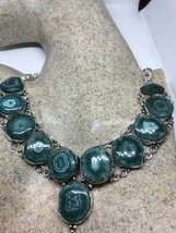 Vintage Green Genuine Agate Druzy Necklace Choker - $115.25