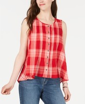 Style & Co Red Check Cotton Button-Front PETITE SMALL TOP BLOUSE. NWT! R... - $29.99