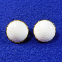 Vintage Earrings MONET White Dome Faceted Lucite Clip Back - $9.50