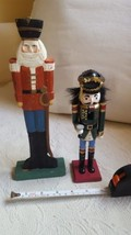 2 CHRISTMAS WOODEN SOLDIERS/nutcracker pre-owned vintage table desk deco... - $16.82