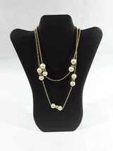 """J Crew Faux Pearl Ivory Rhinestone Beaded 41"""" Chain Statement Necklace  - $18.35"""