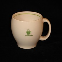 Starbucks Barista Abbey Mug with Steaming Cup White with Green Stripe 2003 - $11.10