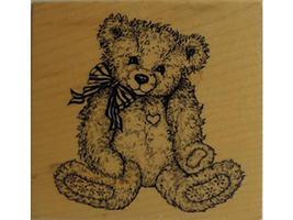 Vintage PSX 1995 Fuzzy Teddy Bear Rubber Stamp #G-1174