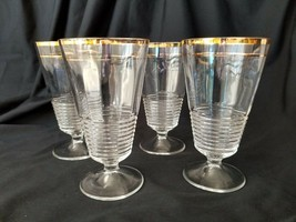 Federal Glass Footed Iced Tea Glasses Set of 4 #145 Gold Trim 1939 - $37.95