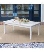 Shabby Chic Whitewash White Coastal Outdoor Wood Coffee Table Patio Furn... - $286.11