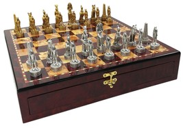 Egyptian Anubis Chess Set Gold & Silver Antiqued W/ Cherry Color Storage... - $199.95