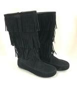 Forever Womens Boots Faux Suede Fringe Boho Zipper Black Size 6 - $33.85