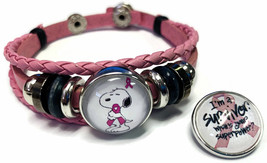 Breast Cancer Snoopy Hugs Survivor Pink Leather Bracelet W/2 Snap Jewelry Charms - $22.95