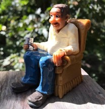 1970 Vtg Man Cave Tan Grandpa in Chair Enjoying Can of Beer? Wilton Cake... - $16.92