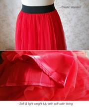 Red Elastic Waist 3 Layer Tulle Tea Length Midi Skirt, Plus Size Tulle Skirt NWT image 3