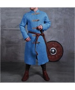 Medieval Blue Turtleneck Long Sleeve Padded Canvas Gambeson Tunic Battle... - $172.95