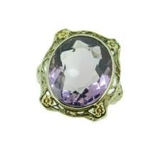 Deco 14k White Gold Filigree Genuine Natural Amethyst Ring Flowers (#J4728) - $600.00