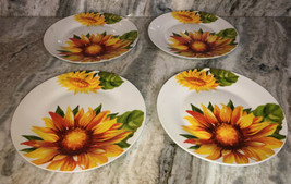 "Royal Norfolk 10 1/2"" Dinner Plates Set Of 4 Red/Yellow/Green Flower Pri... - $49.38"