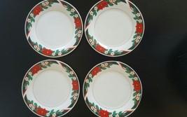Set of Four Deck The Halls Dessert Plates Tiens... - $18.50