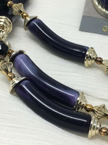 Vintage Lucite Necklace Earrings Purple Black With Tags (#18-140E)