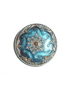 "Beautiful Blue Czech Hand Painted Gold Lacy Glass Shank Button 1-1/16"" - $8.90"