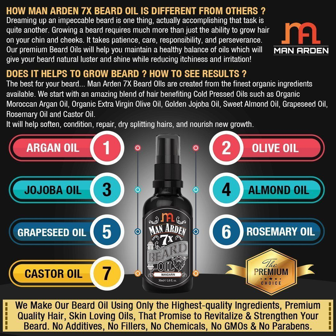 Man Arden 7X Beard Oil 30ml (Mandarin)- 100% natural & pure 7 super-ingredients