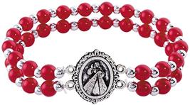Silver Toned Religious Medal Double Strand Devotional Bracelet - $14.42+