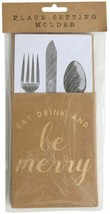 Tableware Silverware Holders Christmas Eat Drink Be Merry Kraft Paper - ... - $6.50