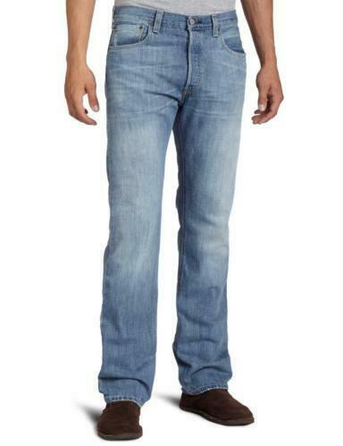 NEW LEVI'S 501 MEN'S ORIGINAL FIT STRAIGHT LEG JEANS BUTTON FLY BLUE 501-0537