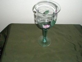 Vintage Hand Painted Green Flower Decorated Wine Tall 9 1/2 Glass Gobblet - $69.30