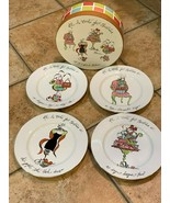 "ROSANNA DESSERT 8.25"" PLATES SET 4 ALL I WANT FOR XMAS RING SHOES PURSE ... - $30.00"