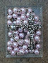 Silver or Bronze Prayer Rosary Beads - First Communion / 8mm Pink Pearl ... - $24.95