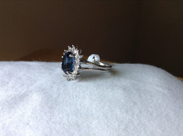 Blue CZ Stone Sunburst White Stone Border Stainless Steel Ring Size 7 and 7.75 image 2