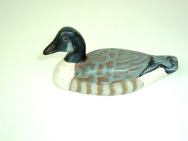 Vtg Wood Hand Painted Duck Glass Eye Small woodland handcrafted   - $14.80