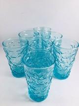 Anchor Hocking Glass Lido Milano Crinkle Aquamarine Aqua Juice Shot Set/7 - $31.51