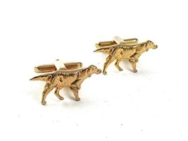 1950's-1960's Goldtone Pointer Dog Hunting Cufflinks By HICKOK USA 5517 - $22.76