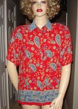 Vtg 80s Red Blue Paisley Tunic Top Blouse Shirt Border Print Button Front Sz XL - $23.36