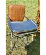 Vintage Folding Metal High Chair Chrome Vinyl Retro Mid Century modern mcm - $125.00