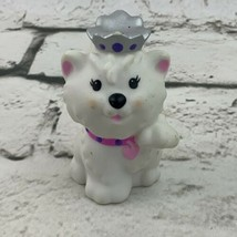 Fisher Price Little People Princess Puppy Royal Dog Pet Pink Collar Crown - $11.88