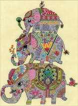 """Design Works Counted Cross Stitch Kit 11""""X14""""-Elephant Trio (14 Count) - $30.02"""