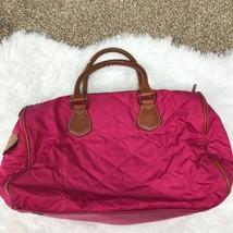 J.Crew Pink Handbag Satchel Purse Brown Leather Zip Closure Inner Pocket... - $32.62