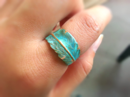 Patina Feather Ring Adjustable Feather Wrap Ring Woodland Feather Ring V... - $28.00