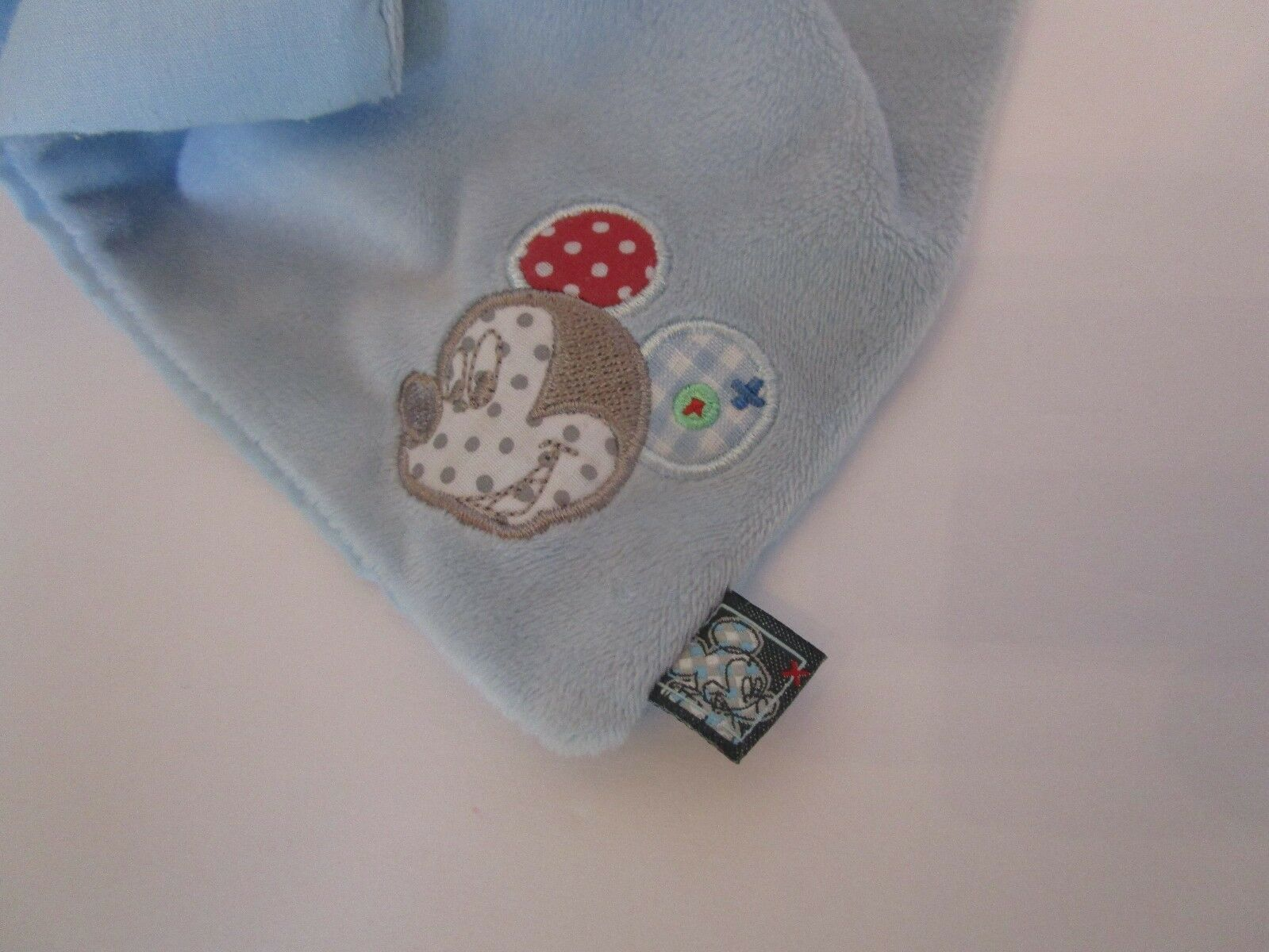 """Mickey Mouse Baby Plush Security Blue Blanket 11"""" Doll Gray Pastel Disney"""