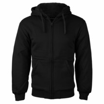 Men's Black Athletic Sherpa Lined Fleece Zip Up Hoodie Sweater Jacket - 6XL