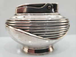 "Vintage Ronson Working Table Lighter ""LOTUS"" 1950 s Heavy Silver Plated - $36.63"