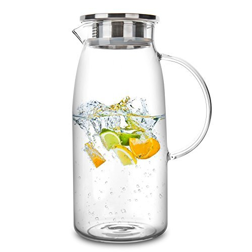 60 Ounces Glass Pitcher with Lid, Hot/Cold Water Jug, Juice and Iced Tea Beverag