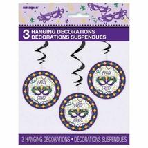 "Jazzy Mardi Gras 3 Hanging Swirl Decorations Cutouts 26"" - $4.94"